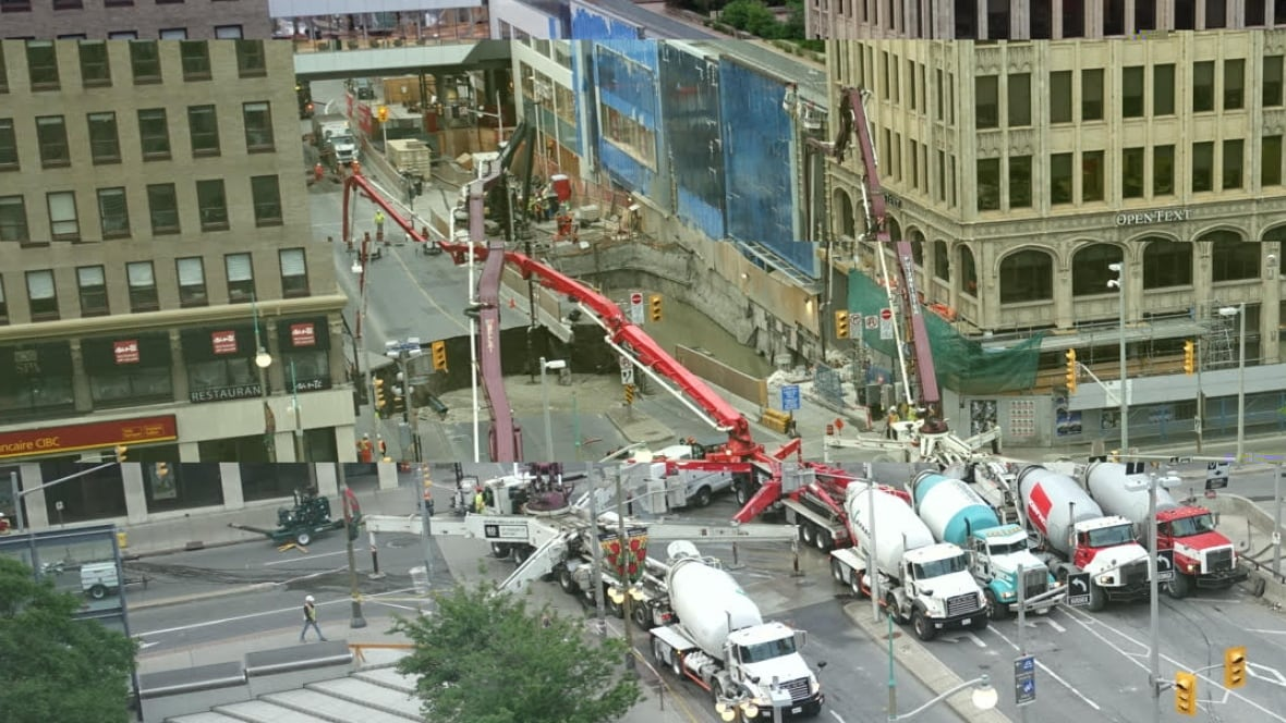 massive sinkhole closes rideau street in downtown ottawa ottawa cbc news. Black Bedroom Furniture Sets. Home Design Ideas