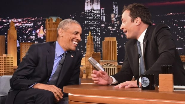 President Barack Obama, left, shares a laugh with host Jimmy Fallon during a taping on Wednesday of The Tonight Show.