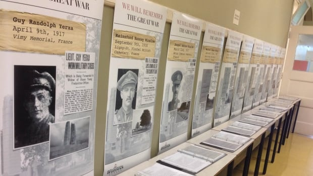 The biographies on display at George Street Middle School reflect the enormity of the loss of life during WW l.