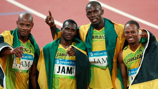 Nesta Carter, second from left, tested positivie for doping following Jamiaca's relay gold win at the 2008 Summer Olympics in Beijing.