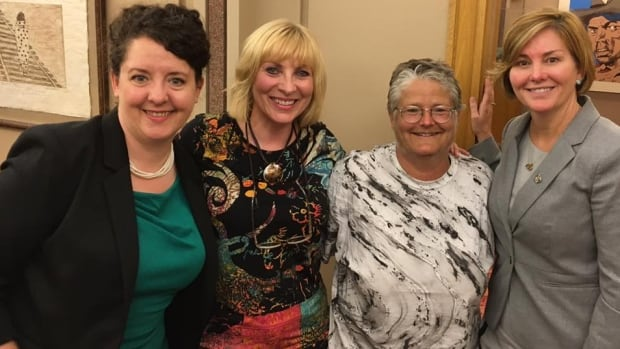 Lyme disease sufferers Cecile Gough and Debbie McCann, and tick researcher Dr. Vett Lloyd, pictured at a national round table on Lyme disease in New Brunswick a year ago, with NB Southwest MP Karen Ludwig.