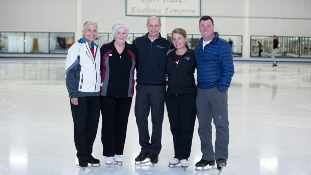 Donald Jackson, former Olympic medalist, poses with Moncton's Pat Noddin, Kurt Browning, former world champion, Janna McLellan, Noddin's coach, and Brian Orser, a former Olympic medalist.