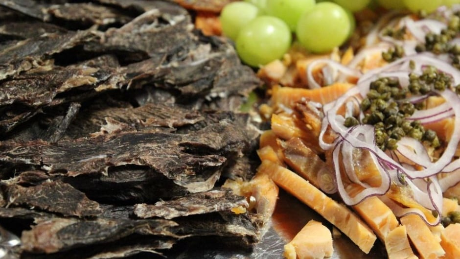 Some Nunavut cuisine: dried caribou and several preparations of dried and smoked arctic char (called 'pipsi').