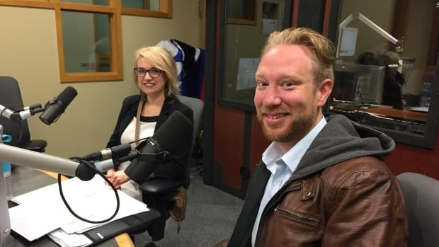 Erin Gallagher and Adam Young, board members of the NextGen Leadership Society, were at a forum Tuesday to talk about creating conditions to attract and retain young people to Cape Breton.