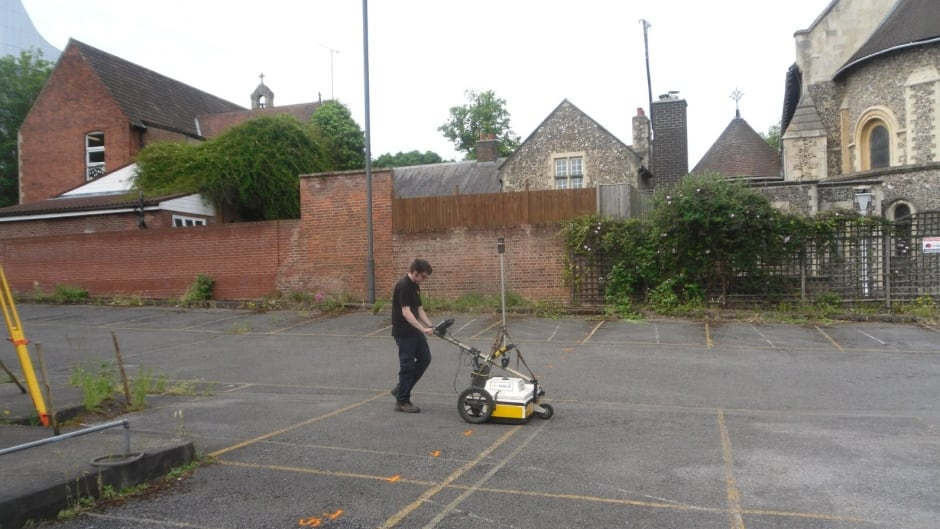 Researchers are using ground-penetrating radar machines like this one to search the area.