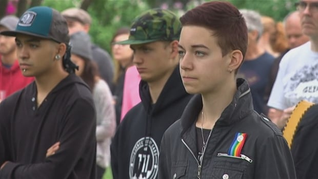 Two-hundred people from Steinbach, including 17-year-old Mika Schellenberg, attended a vigil in the southeast Manitoba city Tuesday for the people killed in a shooting in an Orlando, Fla., gay nightclub over the weekend.
