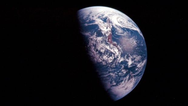 The earth, seen here from a 1968 NASA image from space, appears to be round.