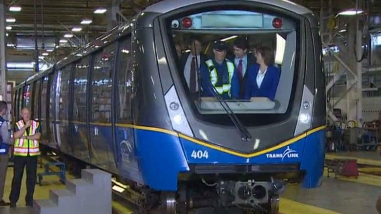 Trudeau on a train