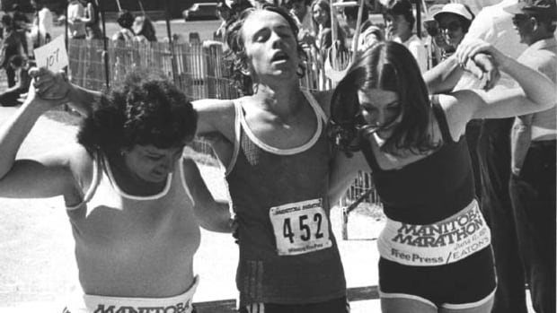 Brian Warkentin, 18, from Grunthal, Manitoba crosses the the finish line in 1979 in 107th place with a time of 3:11:22.