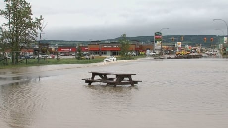 Dawson Creek flood picnic table