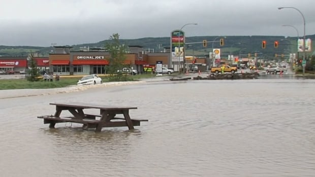 Officials worry heavy rain in northern B.C. could cause floods like this one in Dawson Creek in June 2016.