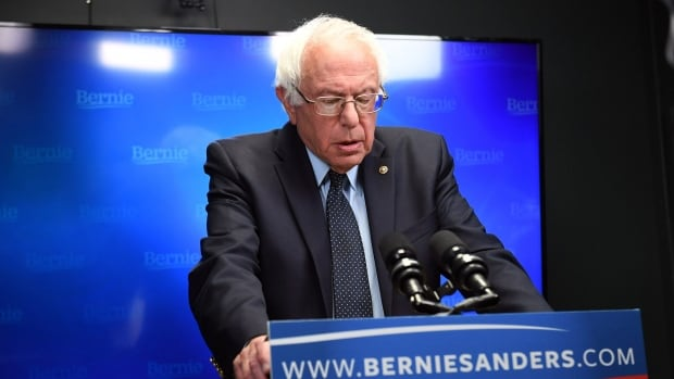 Presidential candidate Bernie Sanders spoke in a video to supporters at Polaris Mediaworks on Thursday night in Burlington, Vt.