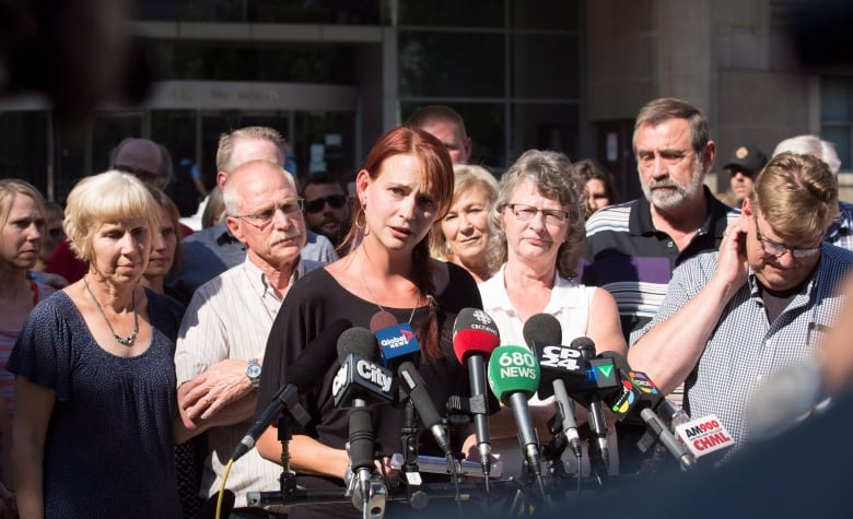 Sharlene Bosma Surrounded By Friends And Family Makes A Statement In Front Of The John Sopinka Courthouse Hamilton After Guilty Verdicts Were Handed