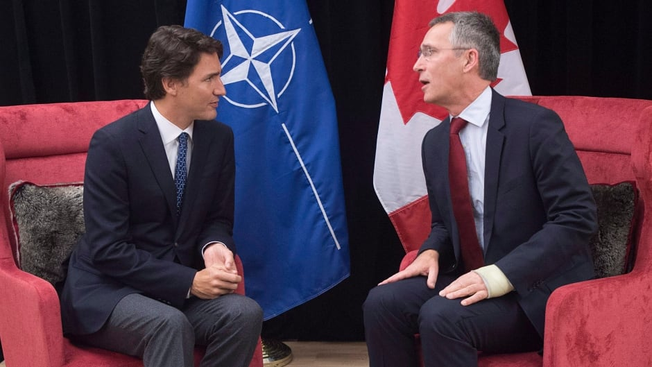 Prime Minister Justin Trudeau meets with NATO Secretary General Jens Stoltenberg in Davos, Switzerland on Saturday, Jan. 23, 2016.