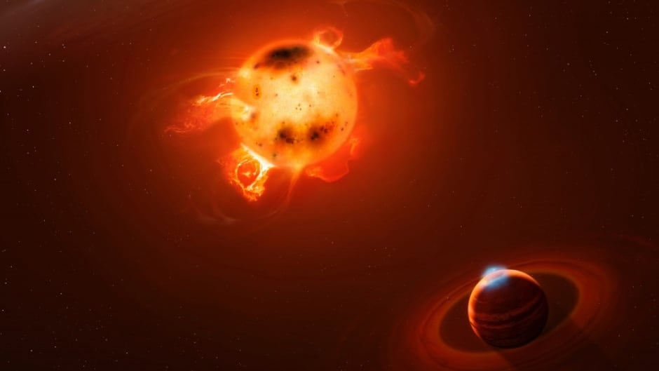 """The """"hot jupiter"""" planet was found orbiting the star V830 Tau, as seen in this artists' conception. They are located about 430 light years from Earth in a star-forming region of the constellation Taurus."""