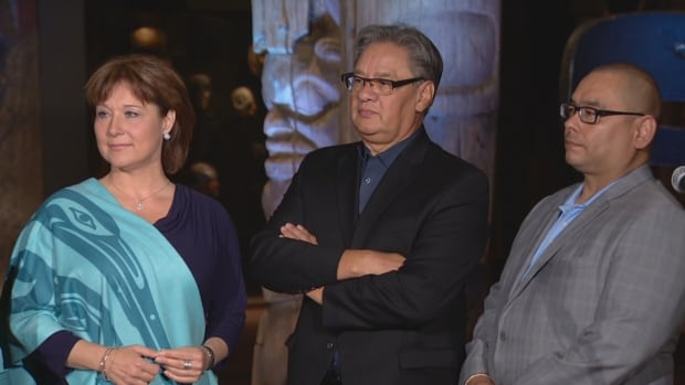 From left: B.C. Premier Christy Clark, Grand Chief Ed John and Regional Chief of B.C. Assembly of First nations Shane Gottfriedson take part in press conference at the Royal B.C. Museum on returning Aboriginal peoples cultural belongings.