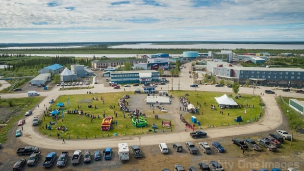 An aerial photo taken by Kristian Binder of the Aboriginal Day celebrations last year at Jim Koe Park in Inuvik, N.W.T. New regulations now prohibit the use of drones within nine kilometres of an airport, which would encompass all of Inuvik.