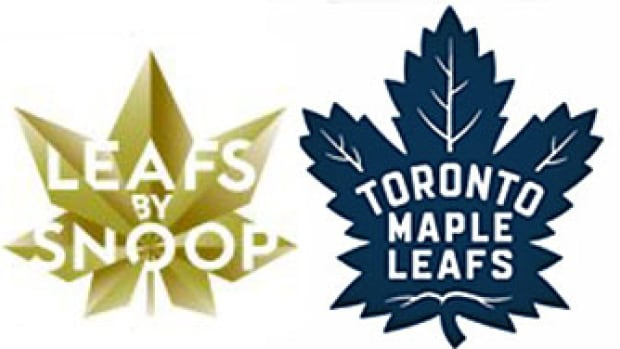 American rapper Snoop Dogg has filed a trademark application for pot products using the logo on the left. On the right is the logo the NHL's Toronto Maple Leafs will use for the 2016-2017 season.