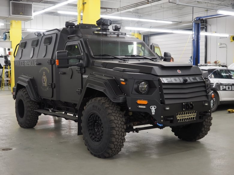 winnipeg police show off new armoured vehicle cbc news