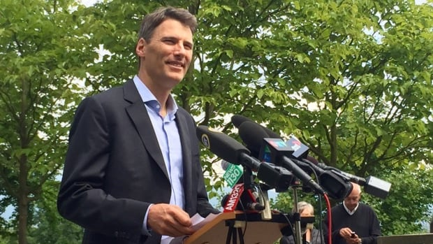 Vancouver Mayor Gregor Robertson on June 22, 2016, announcing the city will move ahead with plans to implement a tax on empty homes.