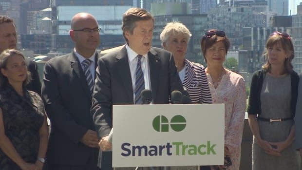 Toronto Mayor John Tory and Ontario Transportation Minister Steven Del Duca announce four new GO Transit stations in the east end on Wednesday.