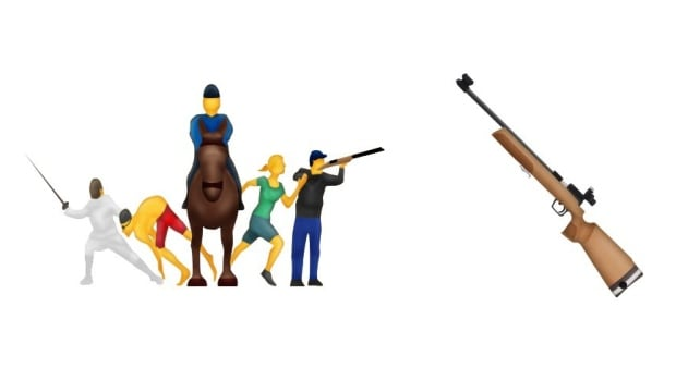 Two emojis were dropped at the last minute from Unicode's original list of 74 new characters: Modern pentathalon, which features a man shooting a gun, and a stand-alone rifle emoji.