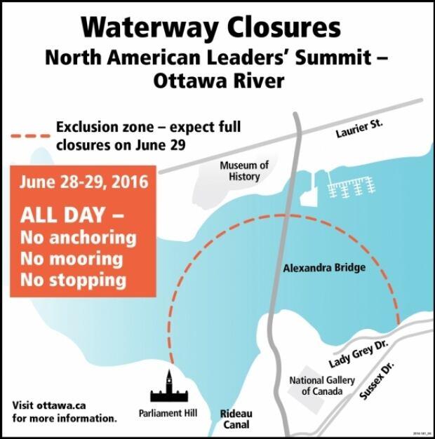 Waterway closures North American Leaders' Summit Ottawa June 29 2016
