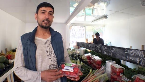 Wali Barak runs the new Moss Park Market, a fresh produce market for low income people in a shipping container near Queen Street East and Sherbourne Street.