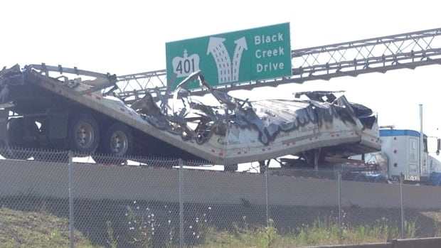 A transport truck was destroyed in the crash.