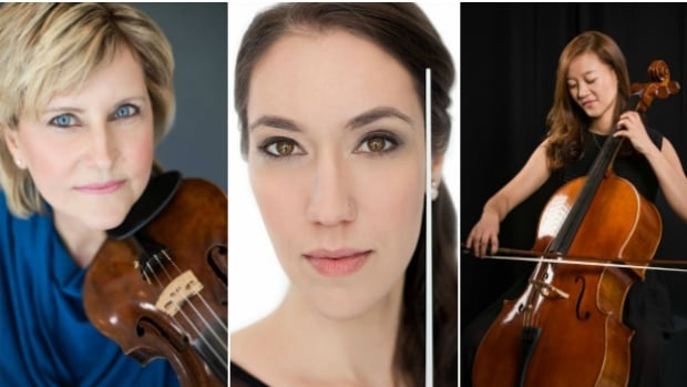 From left to right: Violinist Carolyn Cole, founder and conductor Janna Sailor, and cellist Shin-Jung.