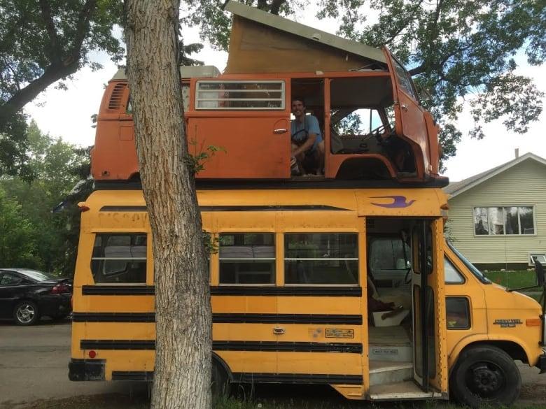 Edmonton man builds double-decker Franken-bus | CBC News