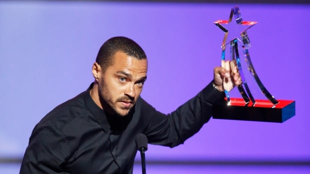 Actor Jesse Williams accepts the Humanitarian Award during the 2016 BET Awards in Los Angeles on Sunday.