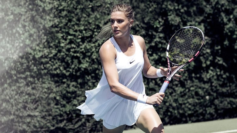 Nike-sponsored Canadian athlete Genie Bouchard poses in a campaign for the  brand's new Wimbledon-themed collection of tennis whites. This dress was  slated ...