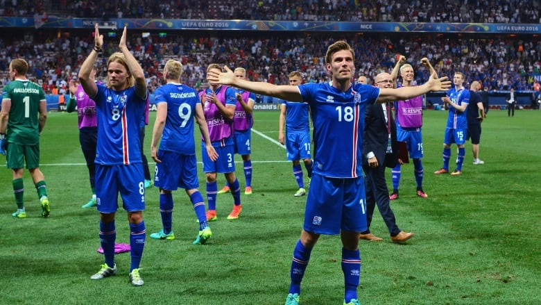 aae71af66 Iceland players celebrate after defeating England in the round of 16 at EURO  2016. The team has now clinched its first-ever spot in the FIFA World Cup.