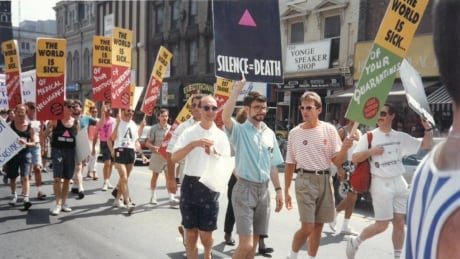 AIDS signs at Pride march 1992