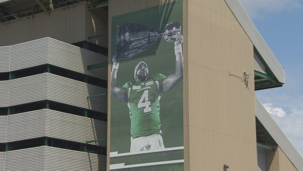 Darian Durant banner on Mosaic Stadium