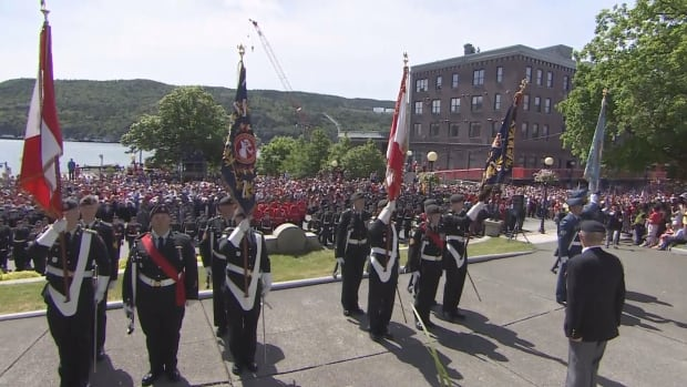 Thousands of people gathered at the National War Memorial in St. John's on July 1.