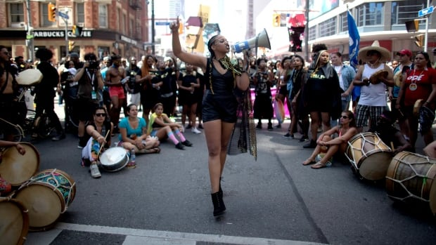 Black Lives Matter Toronto staged a sit-in protest during the annual Pride parade, temporarily halting the procession. The parade resumed after Pride Toronto organizers agreed to the group's demands.