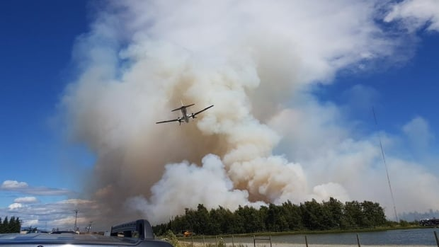 A water bomber attempts to control the blaze burning in Burns Bog.