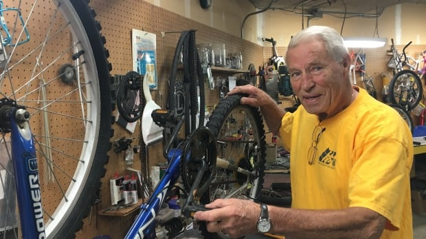78-year-old Dennis Baker has been refurbishing donated bikes to send to the Lower Mainland Christmas Bureau and other local charities for more than 10 years.