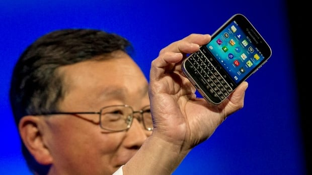 BlackBerry Chief Executive Officer John Chen introduces the new Blackberry Classic smartphone during the launch event in New York on December 17, 2014.