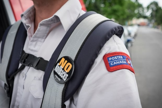 Canada Post union pin reads no rollbacks July 5 2016