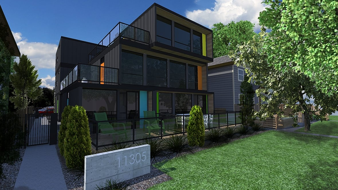 Apartment building made of shipping containers coming to boyle street edmonton cbc news - Shipping container homes toronto ...