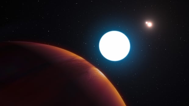 This artist's impression shows a view of the triple star system HD 131399 from close to the giant planet orbiting in the system. Located about 340 light years from Earth in the constellation of Centaurus (The Centaur), HD 131399Ab is about 16 million years old, making it also one of the youngest exoplanets discovered to date.