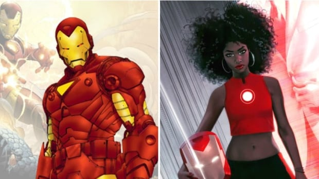 Iron Man, as he currently appears in Marvel's online character database at left, is described as 'cool exec with a heart of steel' Tony Stark. The company announced Wednesday that Riri Williams, right, will be replacing Stark as the comic book series' hero.