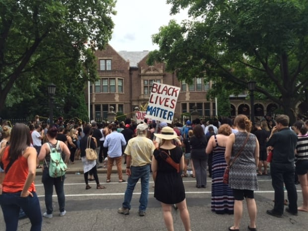 Protest at Mark Dayton's home
