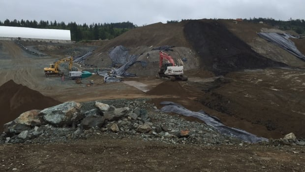 A controversial soil dump site, near Shawnigan Lake, B.C.