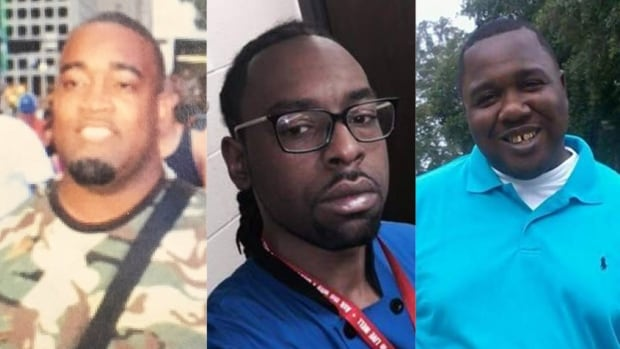 Mark Hughes, left, was misidentified as a 'suspect' in the Dallas shooting that killed 5 officers on Thursday. The back-to-back fatal police shootings of Philando Castile, centre, and Alton Sterling, right, this week have sparked protests and widespread outrage. Social-justice activists say black men are unfairly judged as threatening gun owners, compared to white gun owners.