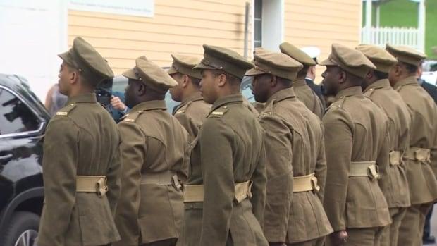 Marchers in the original No. 2 Construction Battalion uniforms.