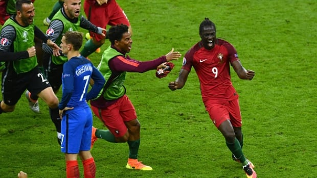 Portugal's Eder celebrates scoring the game-winning goal during the UEFA EURO 2016 Final match between Portugal and France on Sunday.